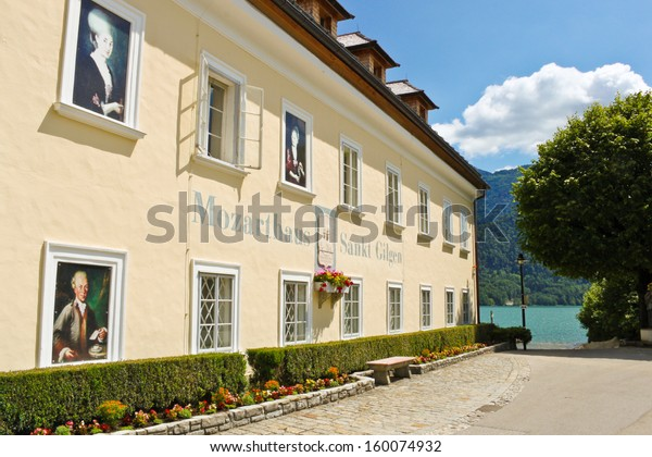 ST. GILGEN, AUSTRIA - JULY 1: Mozarthouse - the place where W. A. Mozart's mother, Anna Maria Pertl, was born and his sister, Maria Anna, lived for 17 years, July 1, 2013 in St. Gilgen, Austria.