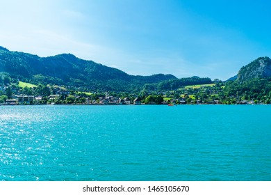 ST. GILGEN, AUSTRIA - JULY 10, 2019: Sankt Gilgen is a village in the north-western shore of the lake Wolfgangsee, in the Salzkammergut resort region. It's a well-known travel destination