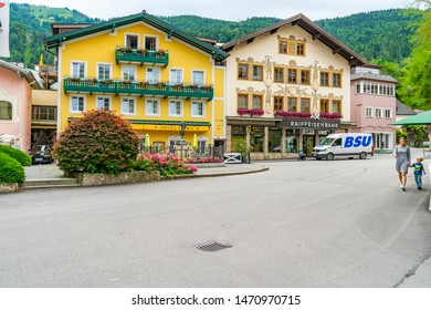 ST. GILGEN, AUSTRIA - JULY 11, 2019: Sankt Gilgen is a village in the north-western shore of the lake Wolfgangsee, in the Salzkammergut resort region. It's a well-known travel destination