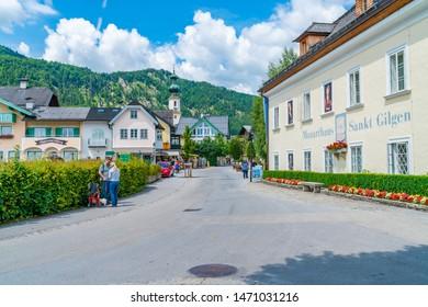 ST. GILGEN, AUSTRIA - JULY 12, 2019: Sankt Gilgen is a village in the north-western shore of the lake Wolfgangsee, in the Salzkammergut resort region. It's a well-known travel destination