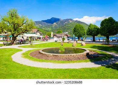 ST. GILGEN, AUSTRIA - MAY 17, 2017: Public park in St Gilgen village, Salzkammergut region of Austria. St Gilgen located at Wolfgangsee Lake.
