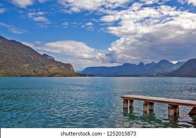 ST. GILGEN, AUSTRIA - SEPTEMBER 19, 2018: Photo of Lake Wolfgangsee.