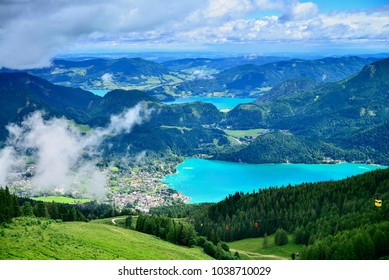 St. Gilgen, Salzburg, Austria.July,1st,2017. This is a view of St. Gilgen, which we see some lakes. The main lake is Wolfgansee, and there are some beautiful towns arounk it, like St. Gilgen.