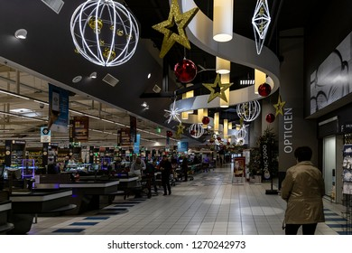 St Gilles Croix de Vie, France - 24 December, 2018: all big supermarkets have beautiful Christmas decorations around the country