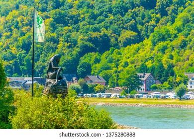 ST. GOAR, GERMAN, AUGUST 18, 2018: Lorelei statue on river Rhein near St. Goarshausen, Germany