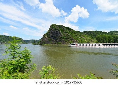 St. Goarshausen, Rhineland-Palatinate, Germany - May 15, 2018: The famous Lorelei Rock on the right bank of the River Rhine at Sankt Goarshausen, Germany