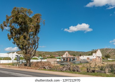 ST HELENA BAY, SOUTH AFRICA, AUGUST 21, 2018: A street scene, with a ruin, in St Helena Bay on the Atlantic Ocean Coast