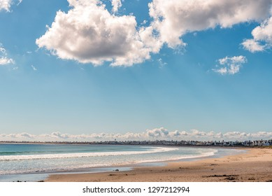 ST HELENA BAY, SOUTH AFRICA, AUGUST 21, 2018: A beach scene in Britannia Bay at St Helena Bay on the Atlantic Ocean Coast. Luxury houses are visible