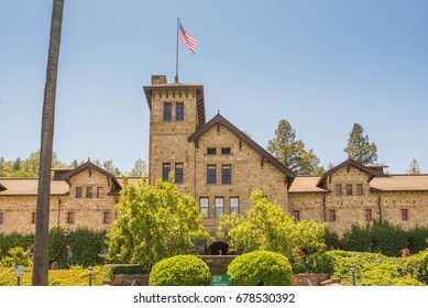 ST. HELENA, CA - JULY 16, 2017: The Culinary Institute of America campus in Napa Valley, California. It is a not-for-profit academic institution of higher learning in cooking.