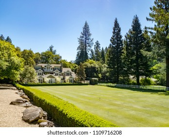 St Helena, CA, USA - April 13, 2018 - Meadowood Hotel Croquet Lawn