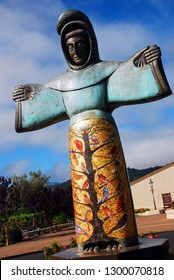 St Helena, CA, USA August 21, 2013 A large statue of St Francis of Assisi stands at the front entrance of a winery in St Helena, California