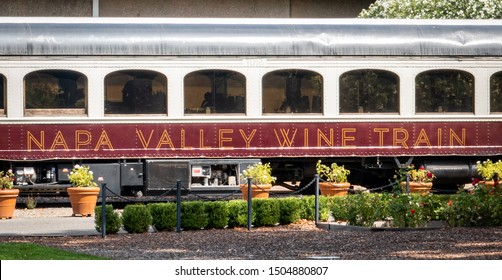 St. Helena, California - September 7, 2019: The Napa Valley Wine Train transports people to various wineries throughout the valley.