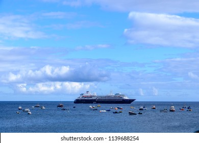 ST HELENA ISLAND, SOUTH ATLANTIC - ARIL 2 2018 - Silversea luxury Silver Cloud, refurbished as expedition cruise ship at anchor in beautiful waters off Jamestown St Helena alongside leisure boats