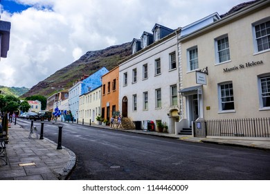 ST HELENA ISLAND, SOUTH ATLANTIC - APRIL 2 2018: Mantis St Helena Hotel and looking along picturesque Main Street of Jamestown on remote island of St Helena