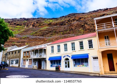 ST HELENA ISLAND, SOUTH ATLANTIC - APRIL 2 2018: Architecture of picturesque Main Street of Jamestown on remote island of St Helena