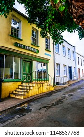 ST HELENA ISLAND, SOUTH ATLANTIC - APRIL 2 2018: Colorful shop on Napoleon Street in Jamestown , the main town of Saint Helena Island