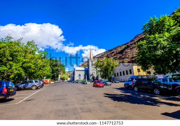 ST HELENA ISLAND, SOUTH ATLANTIC - APRIL 2 2018: Beautiful Grand Parade Jamestown looking towards St James Church and Main Street