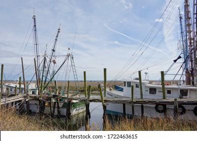 St Helena USA - 21 February 2015 : Fishing boats in harbour of St Helena Island in South Carolina USA