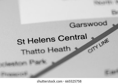 St Helens Central Station. Liverpool Metro map.