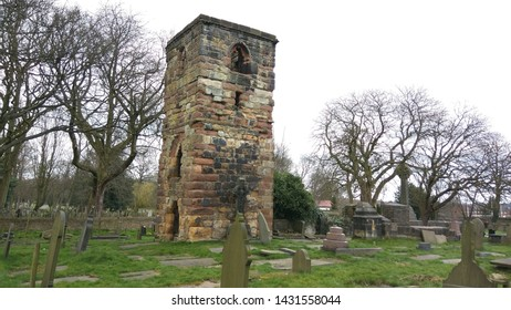 St Helens, Merseyside. UK. 04/04/2015 Windleshaw Chantry built in 1435 by Sir Thomas Gerard now a grade II listed building now only the tower and the graveyard still stand.