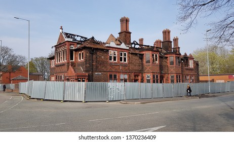St Helens, Merseyside, UK. 04/15/2019 Closed down local pub, The Green Dragon devastated by fire after suspected arson attack early in the morning.
