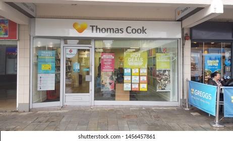 St Helens, Merseyside. UK. 07/20/2019 A high street branch of Tomas Cook.