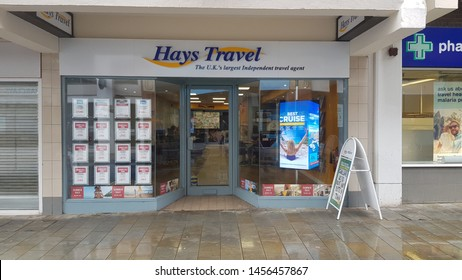 St Helens, Merseyside. UK. 07/20/2019 Hays Travel agents high street shop owned and operated by John Hays.