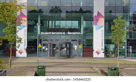 St Helens, Merseyside. UK. 07/20/2019 St Helens collage buildings showing the logos