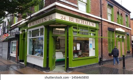 St Helens, Merseyside. UK. 07/20/2019 Burchalls traditional Butcher shop.