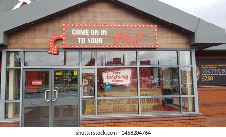St Helens, Merseyside. UK. 07/20/2019 Pizza Hut restaurant. owned by the parent company Yum formerly Tricon Global Restaurants, Inc.