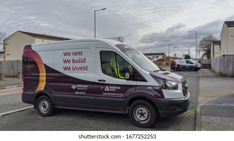 St Helens, Merseyside. UK. 17/03/2020 Torus vans, a company made by the merger of Helena Homes in St Helens and Golden Gates Housing Trust in Warrington parked up within a housing estate.