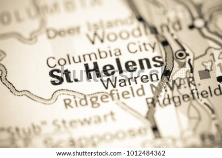 St Helens Oregon Usa On Map Stock Photo Edit Now 1012484362