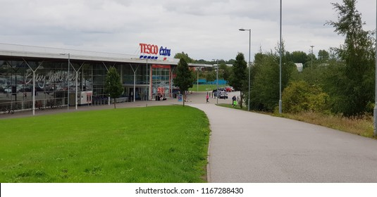 St Helens, UK August 2018 Tesco Extra frontage