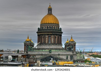 St Isaac Cathedral in Saint Petersburg, Russia rooftop view. It is the biggest christian orthodox church in the world