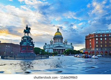 St. Isaac's Cathedral hotel Astoria and monument to Nicholas the first under the beautiful clouds at sunset in Saint-Petersburg