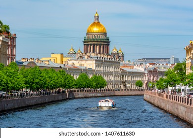 St. Isaac's Cathedral and Moyka river, St. Petersburg, Russia