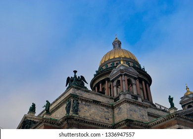St Isaac's Cathedral in St Petersburg Russia domes and copy-space on blue sky