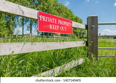 St Ives, Cambridgeshire, UK - Circa May 2019: Shallow focus of a newly installed Private Property sign seen on a time fence near the entrance to a private paddock. The area has been subject to thefts.