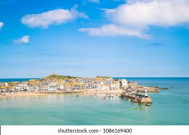 St Ives in Cornwall, United Kingdom with ocean and big blue sky. Stunning view of this popular Cornish tourism destination in Cornwall UK