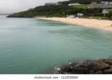 ST IVES, ENGLAND - JUNE 18: The tide comes in at Porthminster Beach, in St Ives, Cornwall. In St Ives, Cornwall, England. On 18th June 2018.