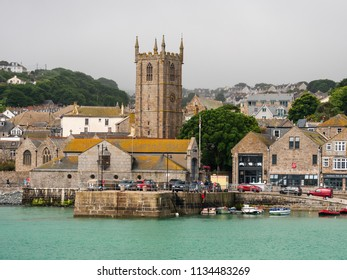 ST IVES, ENGLAND - JUNE 19: St La's Church within the harbour, in St Ives, Cornwall. In St Ives, Cornwall, England. On 19th June 2018.