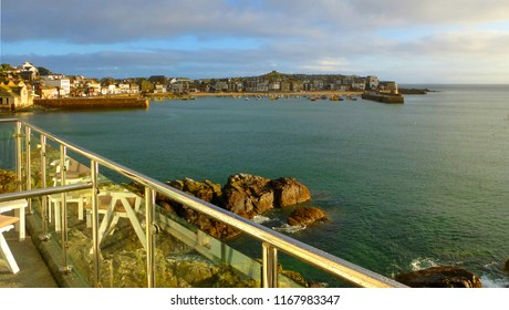 St Ives Harbour, Cornwall - Late afternoon sun - calm sea
