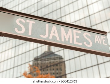 St James Ave sign, Boston.