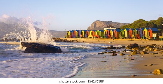 St James Beach with colourful huts, Cape Town, South Africa
