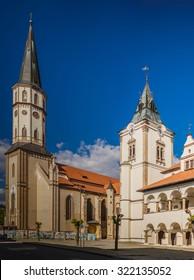 St. James Church and Levoca old town hall, Presov Region, Slovakia. - Shutterstock ID 322135052