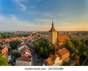 St. James Co-Cathedral Basilica, Evangelical Church, Castle of the Warmian Chapter, Garrison Church of Our Lady Queen of Poland - at sunrise - Olsztyn, Warmia and Masuria, Poland, Europe