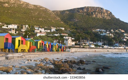 St James colourful beach huts � Cape Town, South Africa