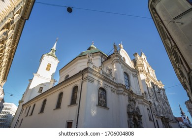 St John Church, also called kostel svatych janu, in the historical center of Brno, Czech Republic, in autumn on Minoritska street. The Church of Saint John is major Catholic medieval church of Moravia - Shutterstock ID 1706004808