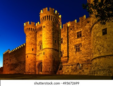 st John knights castle in the night at Rhodes island, Greece