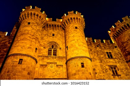 st John knights castle at Rhodes island, Greece. main entrance to the castle city of Rhodes, night